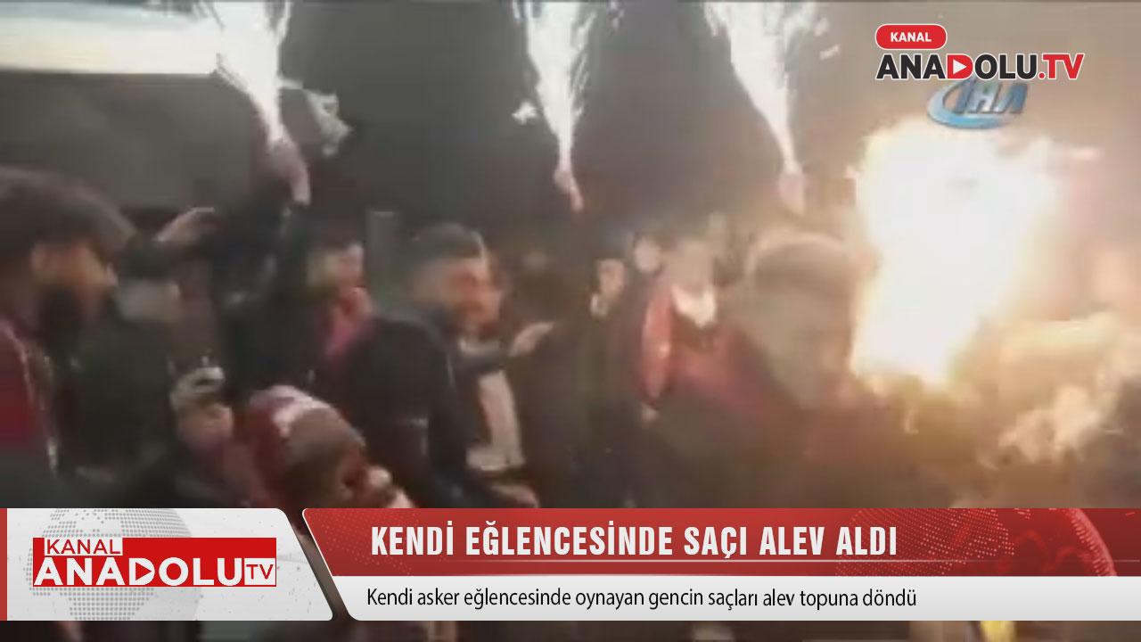 Konya'da askerin saçı alev topuna döndü