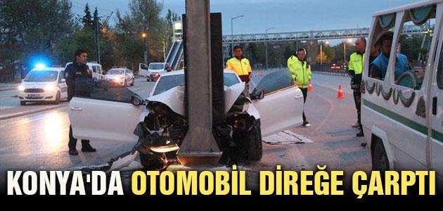 Konya'da otomobil direğe çarptı: 1 ölü